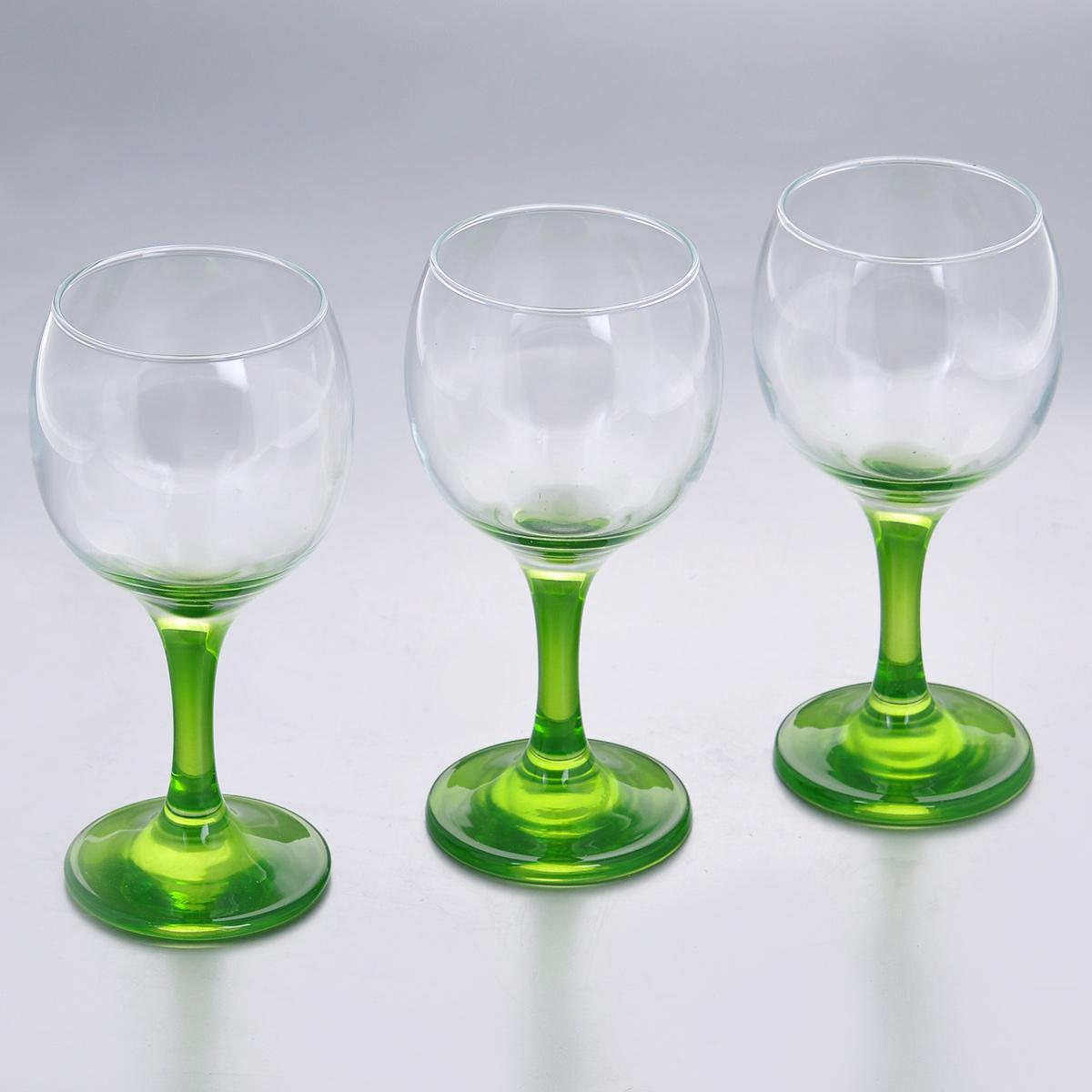 Набор фужеров Glass4you, цвет: зеленый, 220 мл, 3 шт44412GR/Набор Glass4you состоит из трех фужеров, выполненных из прочного натрий-кальций-силикатного стекла. Изделия имеют тонкие высокие цветные ножки. Фужеры излучают приятный блеск и издают мелодичный звон. Предназначены для подачи вина. Набор фужеров Glass4you прекрасно оформит праздничный стол и станет хорошим подарком к любому случаю. Можно мыть в посудомоечной машине. Диаметр фужера (по верхнему краю): 6,6 см. Высота фужера: 14,5 см. Диаметр основания: 6,4 см.