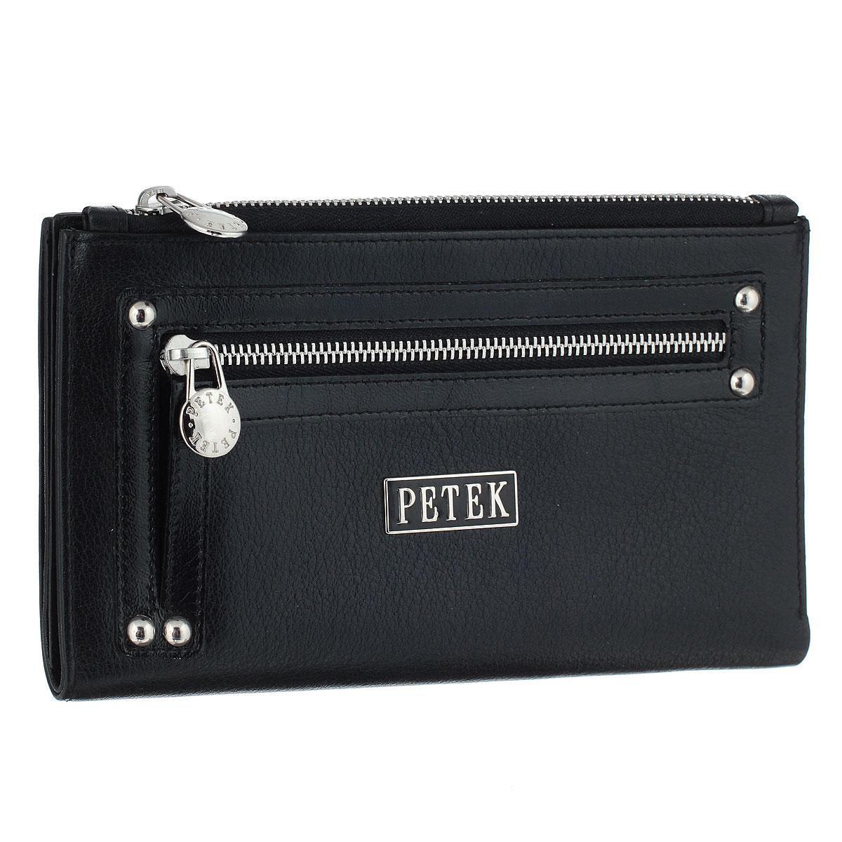 Портмоне Petek, цвет: черный. 425V.RU2.01425V.RU2.01 BlackСтильное портмоне Petek изготовлено из высококачественной натуральной кожи с отделкой из лаковой кожи. Внутри - вместительный карман на молнии, три горизонтальных кармана для бумаг, два кармана с сетчатыми вставками, восемь наборных кармашков для кредитных карт или визиток и вертикальный карман для чеков. С внешней стороны предусмотрен карман для мелочи на молнии. Стильное и практичное портмоне Petek идеально подчеркнет ваш образ. Упаковано в фирменную картонную коробку с логотипом брэнда.