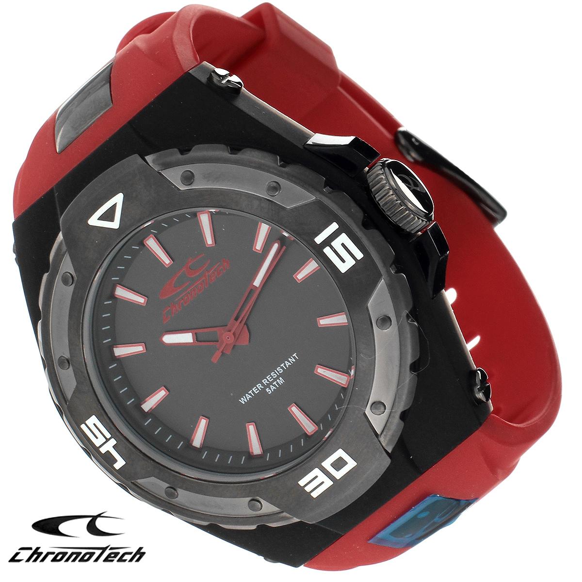 Часы мужские наручные Chronotech, цвет: черный, красный. RW0018RW0018Часы Chronotech - это часы для современных и стильных людей, которые стремятся выделиться из толпы и подчеркнуть свою индивидуальность. Корпус часов выполнен из нержавеющей стали с покрытием. Циферблат оформлен отметками и защищен минеральным стеклом. Часы имеют три стрелки - часовую, минутную и секундную. Стрелки и отметки светятся в темноте. Ремешок часов выполнен из полиуретана и застегивается на классическую застежку. Часы выполнены в спортивном стиле. Часы упакованы в фирменную коробку с логотипом компании Chronotech. Такой аксессуар добавит вашему образу стиля и подчеркнет безупречный вкус своего владельца. Характеристики: Диаметр циферблата: 3,1 см. Размер корпуса: 5 см х 5 см х 1,1 см. Длина ремешка (с корпусом): 22 см. Ширина ремешка: 2,3 см.