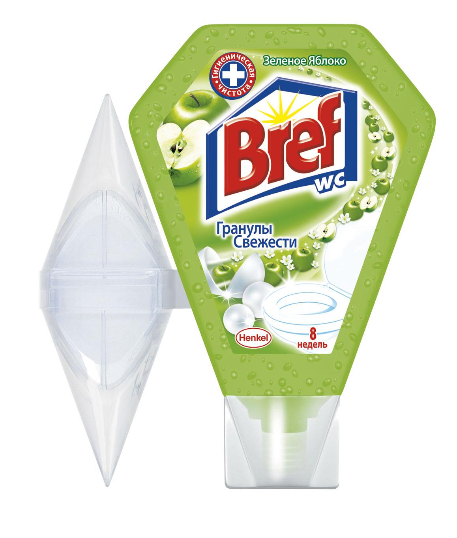 Освежитель для туалета Bref Гранулы свежести, с ароматом зеленого яблока, 200 мл900273