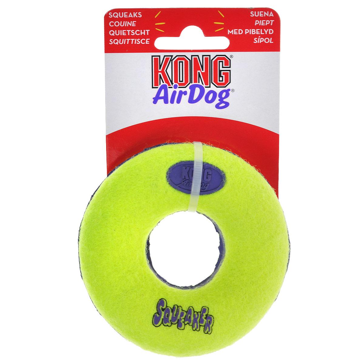 Игрушка для собак Kong Air Кольцо. ASD3ASD3Игрушка для собак Kong Air Кольцо предназначена для собак мелких пород весом от 1 до 10 кг. Эта игрушка - на 100% настоящие теннисные мячи в различных забавных формах и размерах. Такой мячик имеет непредсказуемую траекторию при отскакивании от земли и может плавать на поверхности воды. Игрушка выполненная из материала, не вредящего зубам собаки в форме кольца, при надавливании или захвате пастью пищит.
