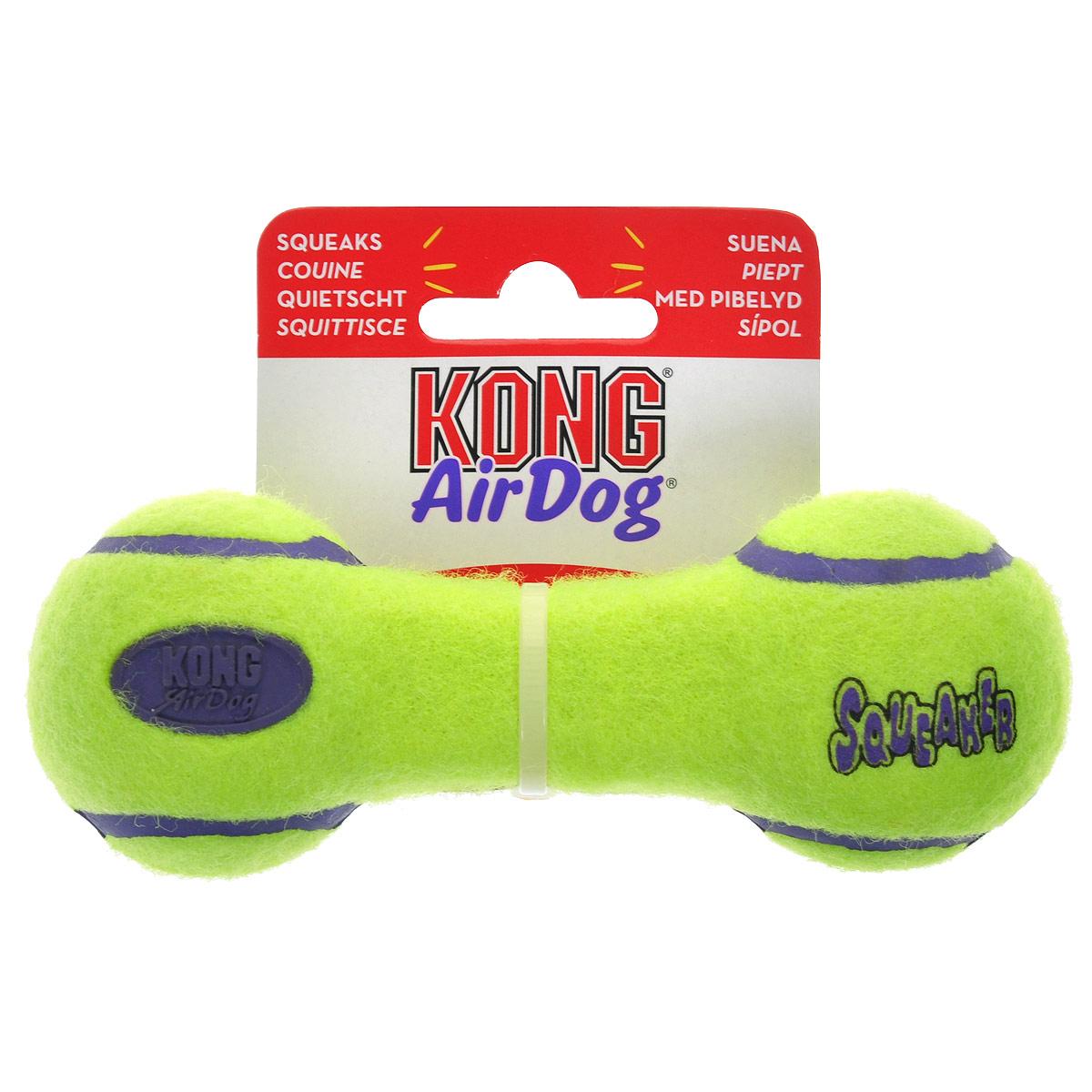 Игрушка для собак Kong Air Гантель. ASDB3ASDB3Игрушка для собак Kong Air Гантель предназначена для собак мелких пород (1-10 кг). Эта игрушка - на 100% настоящие теннисные мячи в различных забавных формах и размерах. Такой мячик имеет непредсказуемую траекторию при отскакивании от земли и может плавать на поверхности воды. Игрушка выполненная из материала, не вредящего зубам собаки в форме гантельки, при надавливании или захвате пастью пищит.