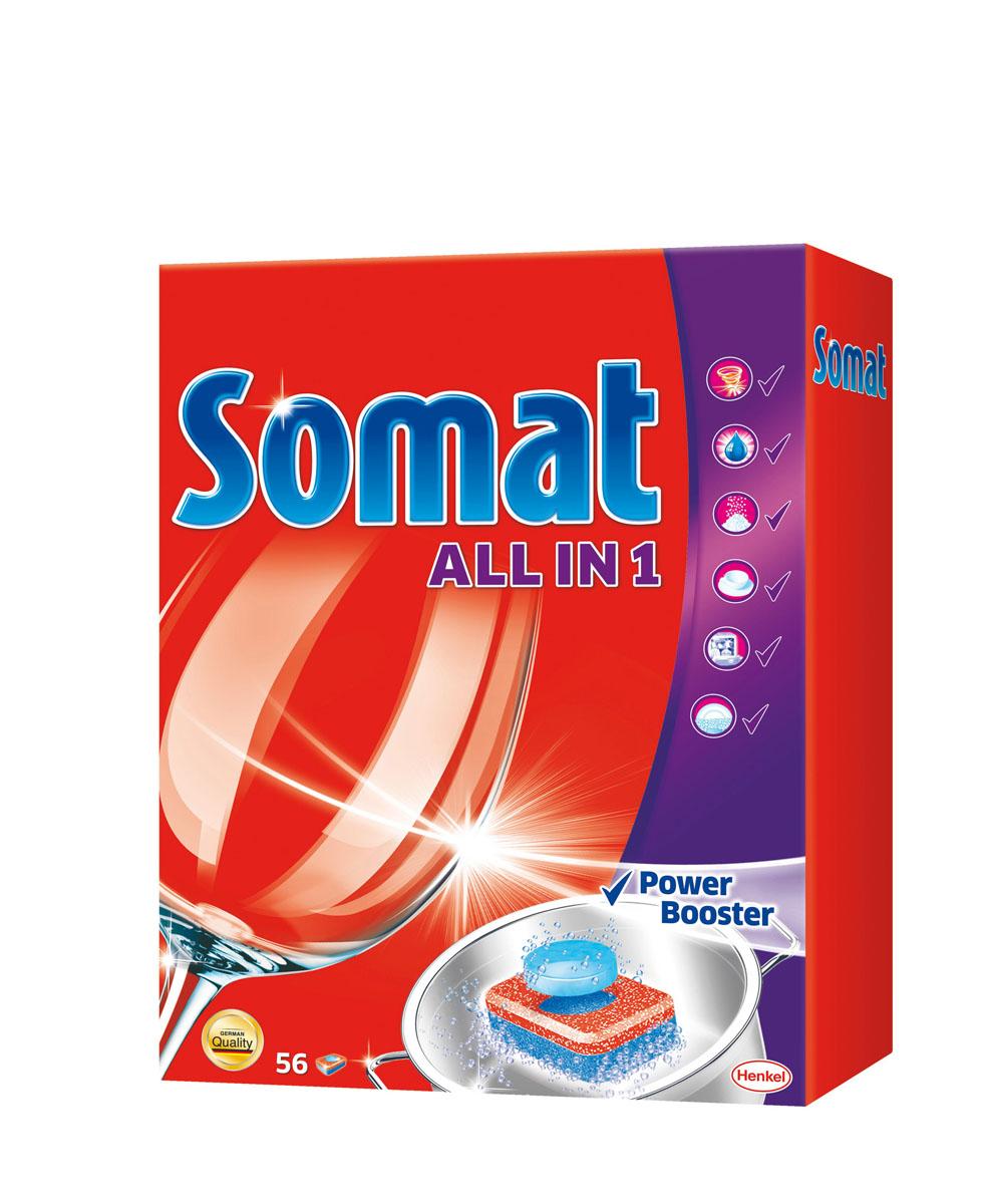 Средство для мытья посуды в посудомоечной машине Somat All in 1, 56 таблеток934667Средство для мытья посуды в посудомоечной машине Somat All in 1 с активной формулой Power Booster (Усилитель действия) обеспечивает кристальную чистоту и сияющий блеск вашей посуде. Свойства: - очиститель - для великолепной чистоты, - функция ополаскивателя - для сияющего блеска, - функция соли - для защиты посуды и стекла от известкового налета, - удаление пятен от чая, - защита посудомоечной машины от известковых отложений, - функция замачивания - эффективен при замачивании, - Power Booster (Усилитель действия) - помогает устранить засохшие остатки пищи. Состав: >30% фосфаты, 5-15% кислородсодержащий отбеливатель, поликарбоксилаты, сода, Товар сертифицирован.