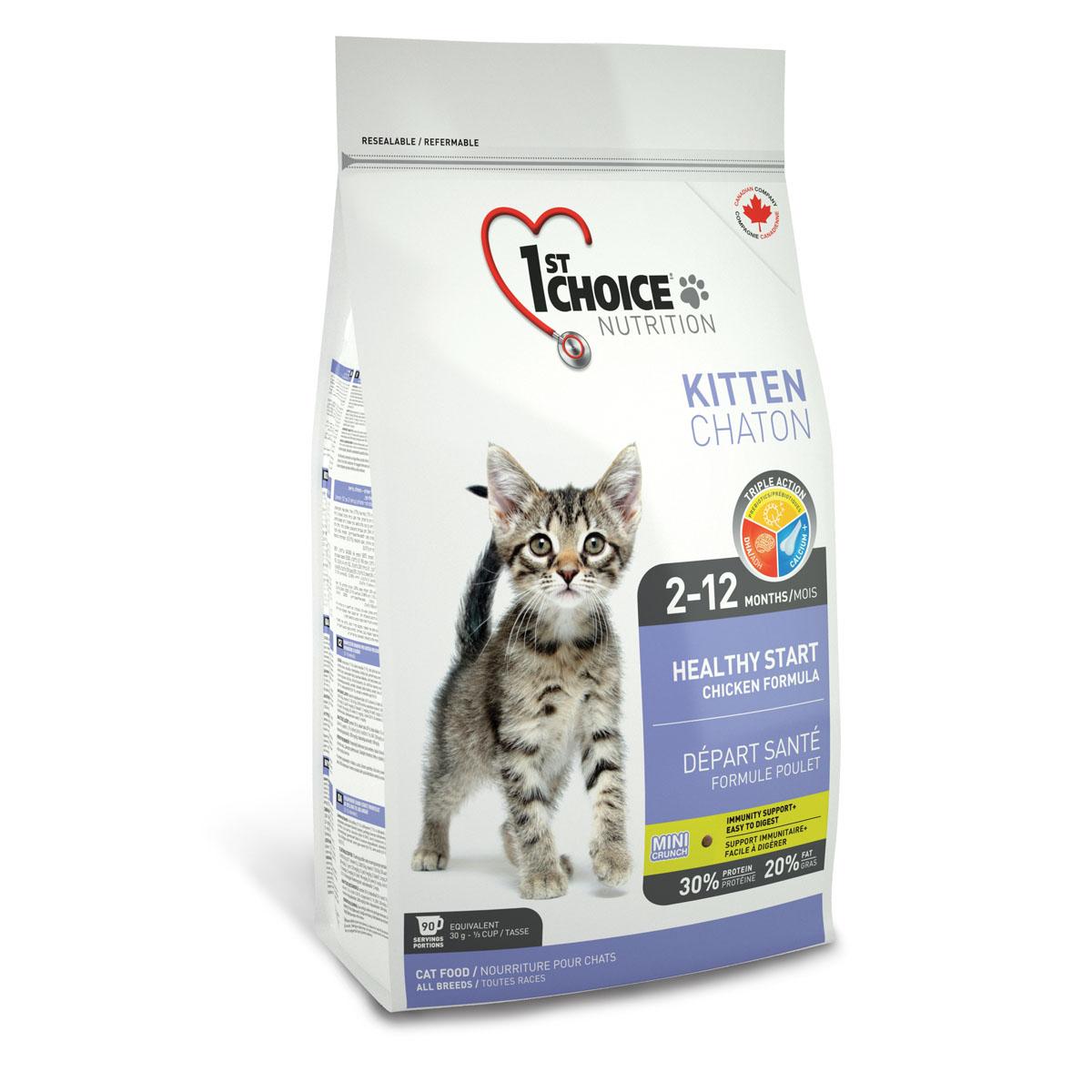 Корм сухой 1st Choice Kitten для котят, с курицей, 907 г56661Сухой корм 1st Choice Kitten с идеальной формулой для начального прикорма предназначен для котенка с 2 месяцев, когда он нуждается в новых источниках питания вместо материнского молока. При этом нет необходимости разделять котенка с мамой. Корм содержит все необходимое не только для растущего организма, но и для беременных и кормящих кошек. Оптимальное питание для старта в здоровую жизнь! Мелкие гранулы легко усваиваются в организме котенка,укрепляя иммунитет, полученный от матери. Входящий в состав жир лосося - самый лучший источник DHA (докозагексаеновой кислоты), которая обеспечивает оптимальное развитие центральной нервной системы, головного мозга и зрения. Пребиотики поддерживают иммунитет и способствуют хорошему пищеварению, кальций - правильному развитию костной системы котёнка. DHA развивает центральную нервную систему, головной мозг и зрение. Ингредиенты: свежая курица 17%, мука из мяса курицы 17%, рис, куриный жир, сохраненный смесью...
