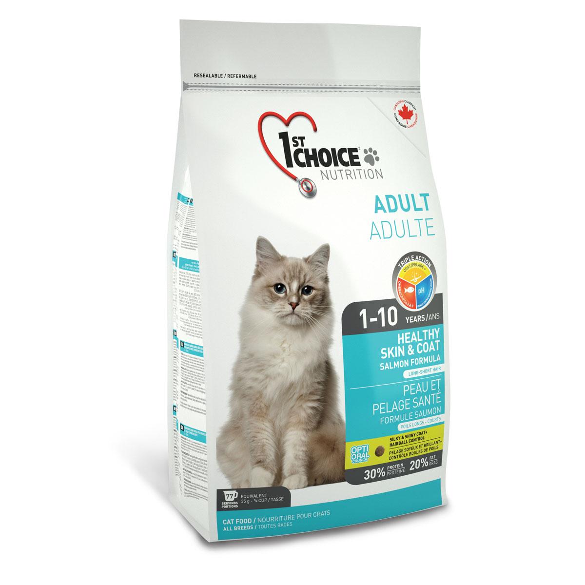 Корм сухой 1st Choice Adult для здоровья шерсти и кожи взрослых кошек, с лососем, 350 г56667Корм сухой 1st Choice Adult разработан для улучшения состояния кожи и шерсти взрослых кошек в любое время года, шерсть любой длины становится мягкой и блестящей. Жир лосося является лучшим источником Омега 3-6-9 жирных кислот, обеспечивающих здоровье кожи. Сочетание рыбного белка и рыбьего жира гарантирует здоровую и роскошную шерсть. Свежий лосось - главный ингредиент, который понравится даже самым привередливым гурманам. Ингредиенты: свежий лосось 18%, мука из сельди менхаден 17%, рис, гороховый протеин, куриный жир, сохраненный смесью натуральных токоферолов (витамин Е), сушеное яйцо, мякоть свеклы, клетчатка гороха, гидролизат куриной печени, коричневый рис, специально обработанные ядра ячменя и овса, цельное семя льна, жир лосося, сушеная мякоть томата, калия хлорид, лецитин, кальция карбонат, холина хлорид, соль, кальция пропионат, натрия бисульфат, таурин, DL- метионин, L-лизин, экстракт дрожжей, железа сульфат, аскорбиновая кислота (витамин С),...