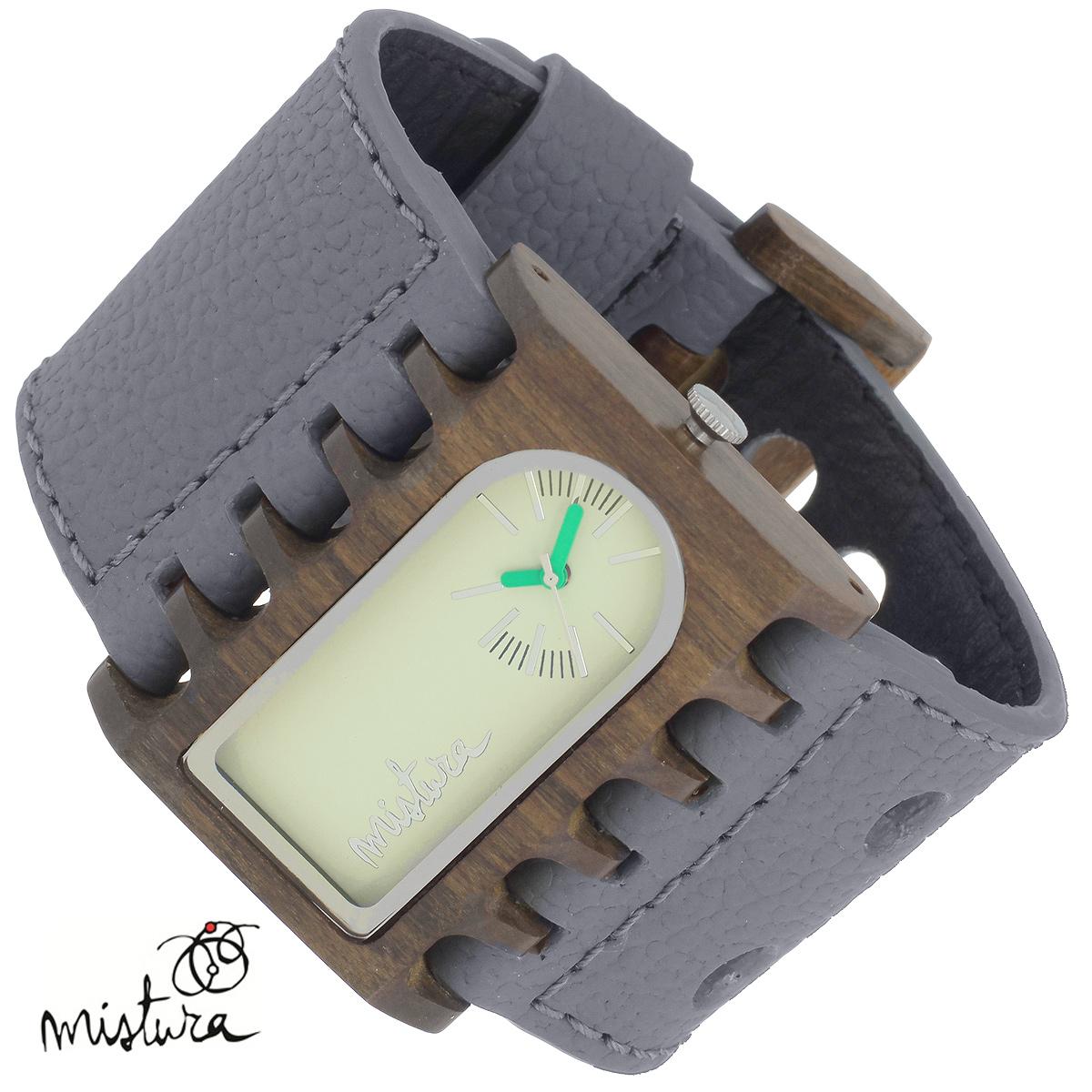 Часы наручные Mistura Ferro, цвет: серо-коричневый. TP08001GYPUGWWDTP08001GYPUGWWDНаручные часы Mistura благодаря своему эксклюзивному дизайну позволят вам выделиться из толпы и подчеркнуть свою индивидуальность. Для изготовления корпуса часов используется древесина тропических лесов Колумбии с применением индивидуальных методов ее обработки. Дизайн выполняется вручную. Часы оснащены японским кварцевым механизмом MIYOTA. Широкий ремешок из натуральной кожи с фактурной поверхностью оформлен декоративной строчкой, застегивается на застежку с двойным язычком. Часы имеют три стрелки - часовую, минутную и секундную. Корпус часов изготовлен из дерева. Циферблат декорирован металлическими насечками и защищен минеральным стеклом. Часы имеют функцию защиты от брызг. Изделие упаковано в фирменную коробку с логотипом компании Mistura. Часы марки Mistura идеально подходят молодым и уверенным в себе людям, ценящим качество, практичность и индивидуальность в каждой детали. Каждая модель оснащена оригинальным дизайнерским корпусом, а также...