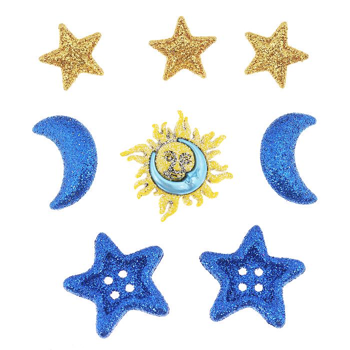 Набор пуговиц и фигурок Dress It Up Небесный, 8 шт. 77023157702315Набор Dress It Up Небесный состоит из 8 декоративных фигурок и пуговиц, выполненных из пластика в форме звезд, солнца и лун, которые украшены блестками. Такие фигурки и пуговицы подходят для любых видов творчества: скрапбукинга, декорирования, шитья, изготовления кукол, а также для оформления одежды. С их помощью вы сможете украсить открытку, фотографию, альбом, подарок и другие предметы ручной работы. Фигурки и пуговицы разных цветов имеют оригинальный и яркий дизайн.