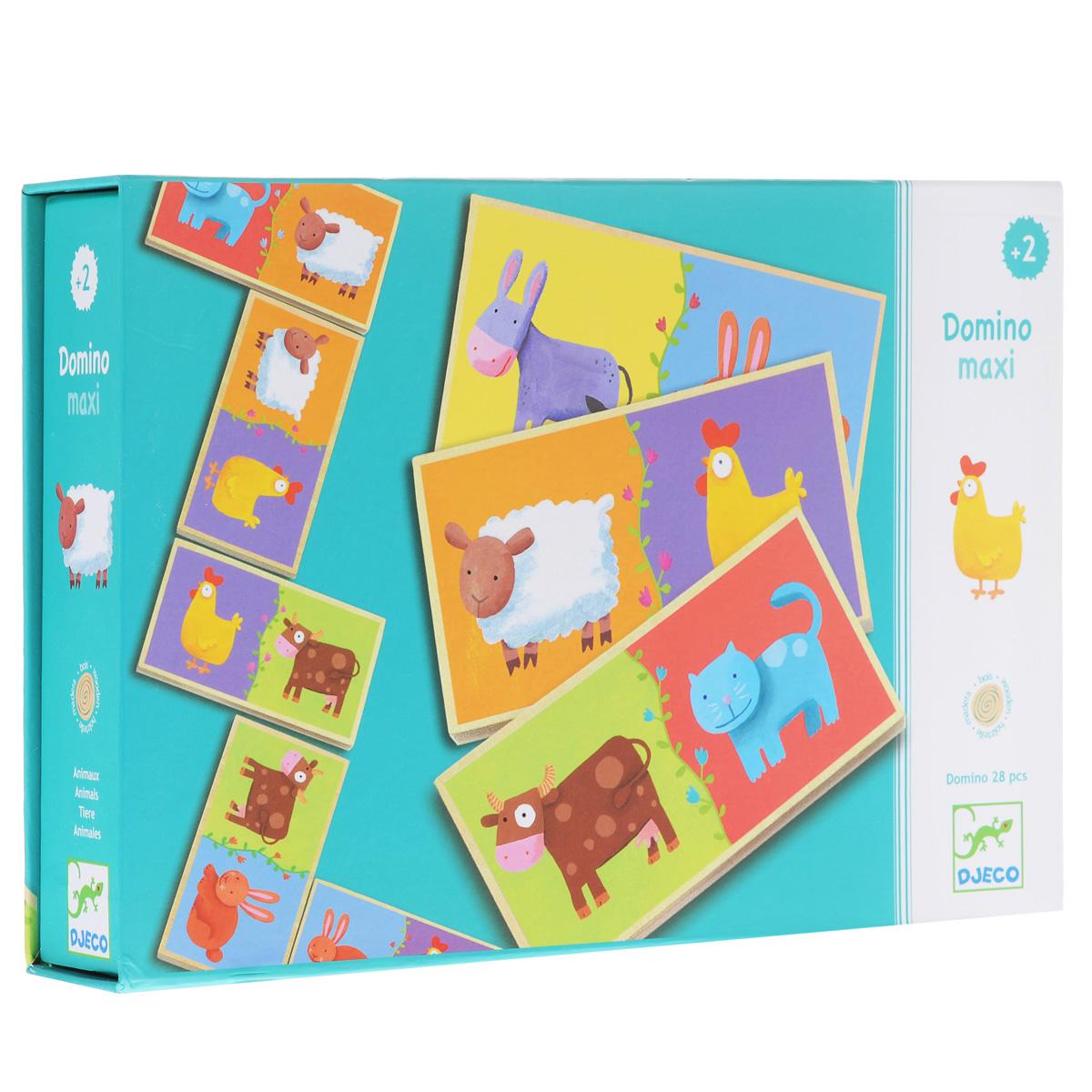 Игра Djeco Домино макси01639Домино макси - замечательное детское домино, в котором кроме привычных точек, с другой стороны карточек, изображены веселые животные. Ребята помладше могут составлять цепочки из веселых зверюшек, а ребята постарше, которые умеют считать могут играть в классическое домино. Игра направлена на развитие у детей понятий формы, цвета, разновидностей животных и навыков счета, внимательности. Продолжительная игра скрасит детские зимние вечера и займет вашего ребенка и его друзей.