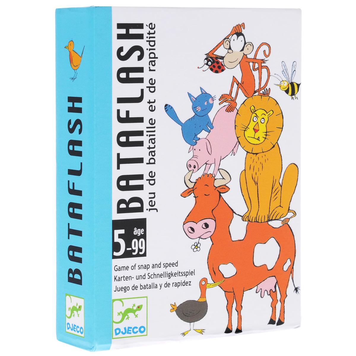 Карточная игра Djeco Батафлеш05118Карточная игра Батафлеш. Детская карточная парная игра. Все карты раздаются между игроками, на картах изображены несколько животных в различных комбинациях. Игра развивает моторику пальцев, воображение малыша, его фантазию. Вас очень порадует Ваш малыш своей сообразительностью. Правила игры: Карты тасуются и раздаются игрокам (если играют трое, то 2 карты в игре не используются). Каждый игрок складывает свои карты стопкой и кладет ее перед собой, лицевой стороной вниз. Все игроки одновременно переворачивают верхние карты своих стопок и помещают их в центре стола. Игрок, который первым заметил одно и то же животное на всех перевернутых картах (в том случае, когда это возможно), громко произносит его название. - Если названное животное действительно имеется на всех картах, то игрок забирает себе эти карты и кладет их в низ своей стопки. - Если игрок ошибся, то он раздает остальным игрокам по одной карте из своей стопки. Каждый из...