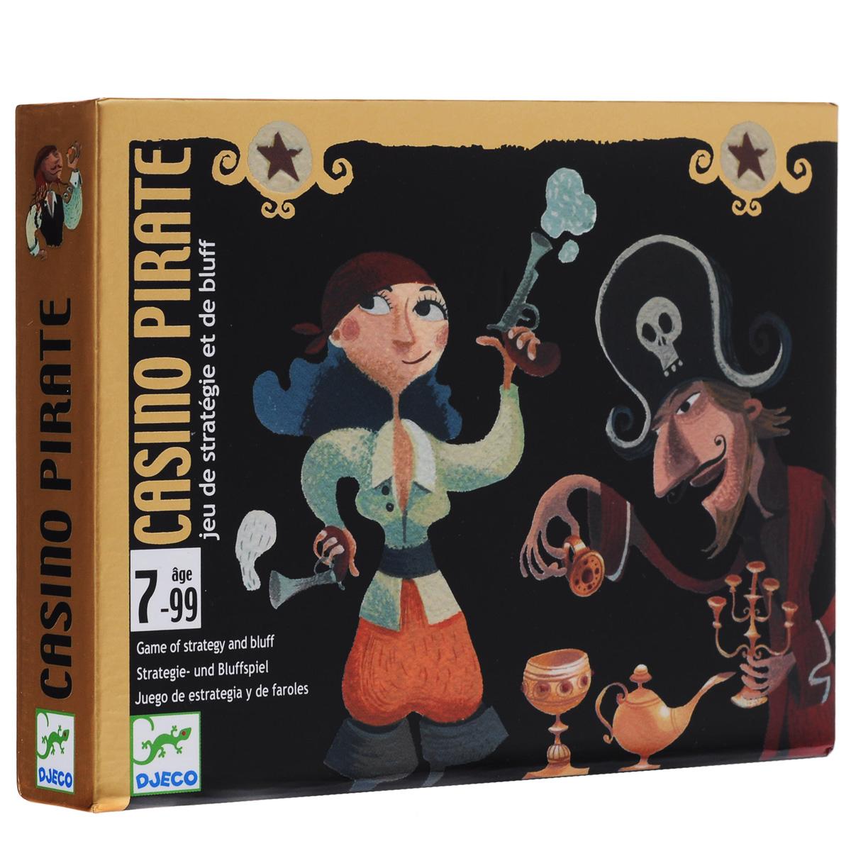 Карточная игра Djeco Пиратское казино05167Карточная игра Пиратское казино - веселый, интересный и красочный способ развлечения для маленьких непосед. Игровая колода состоит из 44 карт, за каждую из которых назначена определенная цена (0,5 до 7 очков), а также 50 фишек для ставок. Всем частникам раздается по одной карте, после чего ведущий выдает желающим дополнительные карты. Цель игры – требуя у ведущего карточки, собрать 7,5 очков и получить за это двойную ставку. Ведущий, не только внимательно следит за ходом игровых событий, но и сам принимает участие в развлечении, пытаясь также набрать 7,5 очков, но открытыми картами. Победу в пиратском соревновании одерживает тот, кто соберет больше всего фишек.
