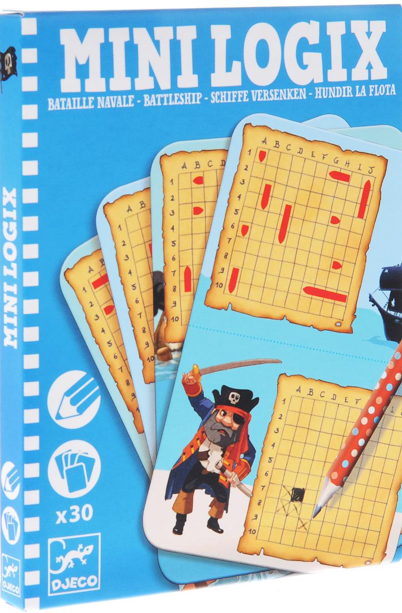 Мини-игра Djeco Морской бой05355Настольная игра Морской бой - это великолепный набор, который удобно брать с собой в дорогу или на улицу, он упакован в красивую подарочную фигурную коробку в форме забавного корабля. Малыши познакомятся с известной классической игрой на стратегическое мышление. Игроки выбирают карточку и ставят корабли на доске в указанной последовательности, так чтобы соперник не видел расположения. Затем они по очереди обстреливают позиции, при этом ставят синюю фишку, если удар - мимо, и красную – если ранил. Победителем становится первый, кто потопит все корабли соперника.