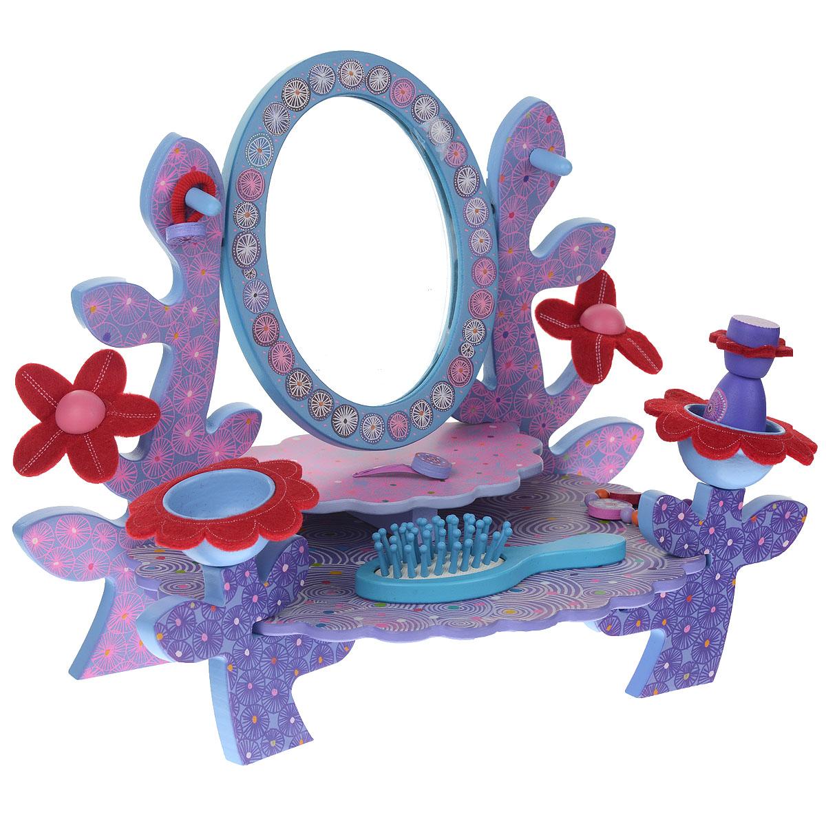 Djeco Игровой набор Туалетный столик, цвет: голубой, сиреневый, розовый06554Уже в детстве у юных принцесс наблюдается тяга к прекрасному. Они любят красивую одежду, им нравятся всевозможные заколочки, бантики. Игровой набор Djeco Туалетный столик доставит много удовольствия вашей малышке. Он включает туалетный двухъярусный деревянный столик с подвижным зеркалом, браслет, флакончик с крышечкой, расческу и текстильную резиночку и металлическую заколку-зажим для волос, оформленные декоративными элементами. По бокам столик оснащен вместительными углублениями для мелких украшений. Элементы набора выполнены из дерева, выкрашенного нетоксичными красками. Края изделий закруглены. В наборе также шурупы и схематичная инструкция по сборке столика. Этот набор также развивает мелкую моторику пальчиков рук, развивает воображение малышки. Ваша маленькая принцесса будет в восторге от такого подарка.