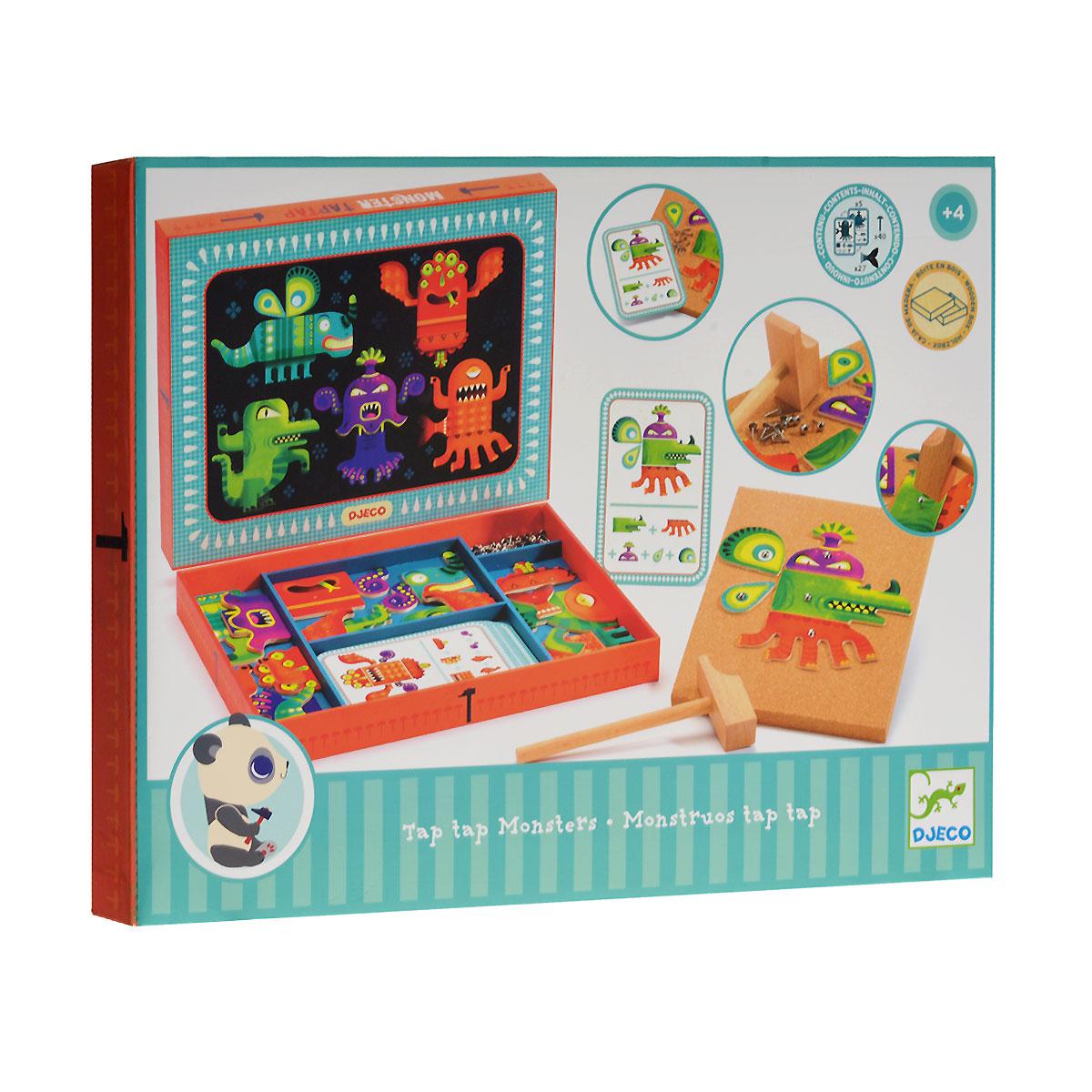 Djeco Конструктор Tap Tap Monsters06640Игровой набор-конструктор Djeco Tap Tap Monsters станет увлекательным развлечением для каждого ребенка, ведь он сможет собрать забавного монстрика, которого совсем не будет бояться. В набор входят основа, на которой будет собираться монстр, деревянные элементы с изображениями фрагментов 5 разных монстров, 5 двусторонних карточек с изображениями возможных вариантов монстров, металлические гвоздики и деревянный молоток. С помощью элементов набора малыш сможет создать забавных монстров согласно изображениям на карточках или проявить творческие способности и придумать собственный вариант. В элементах конструктора имеются дырочки для гвоздиков. Выбрав нужные элементы, осторожно приколотите их к основе - и монстрик готов! Гвоздики легко извлекаются из основы, и можно создавать монстриков снова и снова. Конструктор упакован в подарочную коробку. Конструкторы Djeco - увлекательная игра, в процессе которой развивается фантазия и пространственное мышление ребенка,...