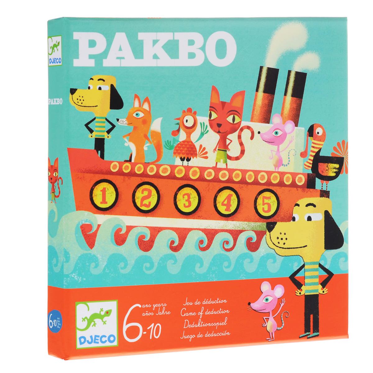 Настольная игра Djeco Пакбо08458Настольная игра Пакбо - это невероятно интересная и необычная игра. Цель этой интересной стратегической игры – быстрее всех определить места, на которых сидят пассажиры корабля соперника. В начале игры все участники рассаживают зверей и в бой! Очаровательная и познавательная игра для Вашего малыша. Набор очень яркий и занимательный.