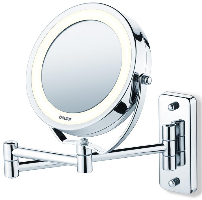 Зеркало Beurer BS591092032Подсвечиваемое зеркало Beurer BS59 служит для повседневного ухода за кожей и нанесения декоративной косметики. Зеркало имеет обычную и увеличивающую в 5 раз зеркальную поверхность, которую, по необходимости, можно повернуть в нужную сторону. При необходимости зеркало можно также снять с настенного крепежного устройства. Светодиодная подсветка Вращающееся зеркало Легко крепится к стене