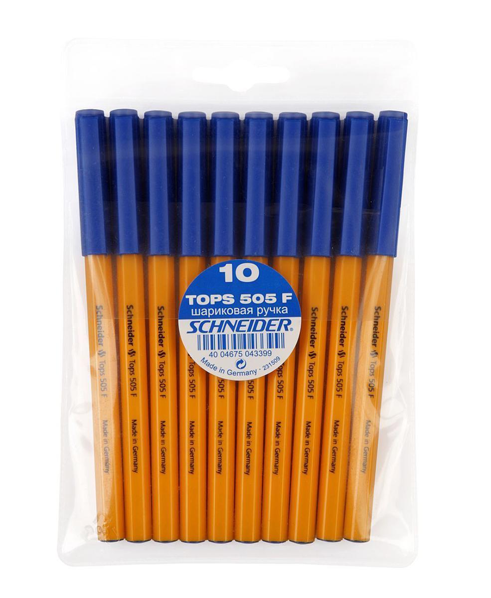 Набор ручек шариковых TOPS 505, F-0,3 мм, 10 шт., синий цвет чернил.