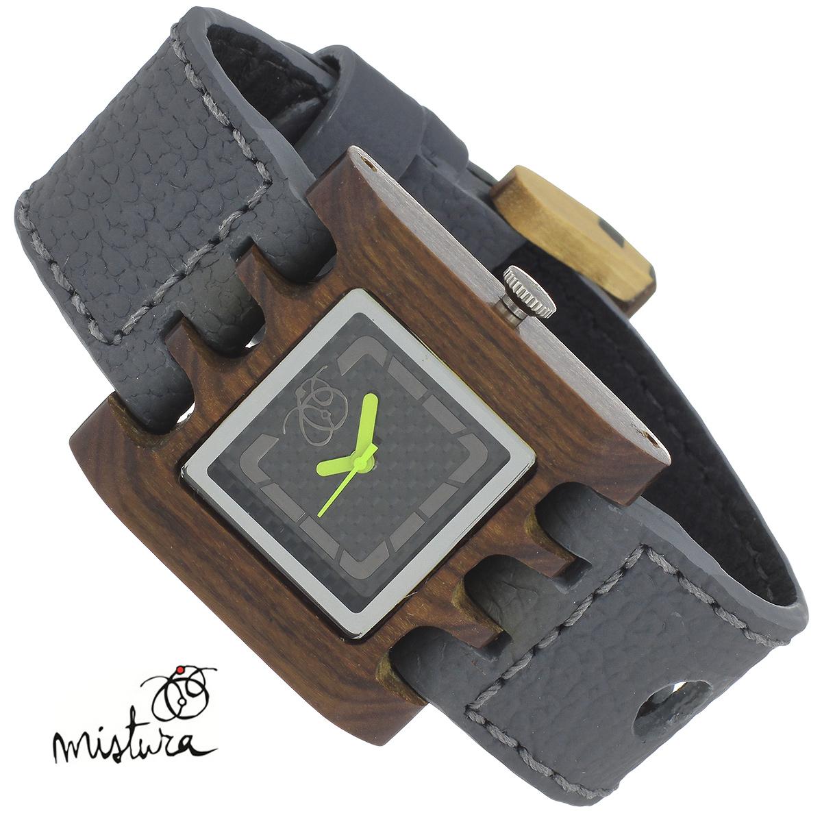 Часы наручные Mistura Quadrato, цвет: серый. TP09009GYPUCFWDTP09009GYPUCFWDxНаручные часы Mistura благодаря своему эксклюзивному дизайну позволят вам выделиться из толпы и подчеркнуть свою индивидуальность. Для изготовления корпуса часов используется древесина тропических лесов Колумбии с применением индивидуальных методов ее обработки. Дизайн выполняется вручную. Часы оснащены японским кварцевым механизмом MIYOTA. Ремешок из натуральной кожи с фактурной поверхностью оформлен декоративной отстрочкой, застегивается на классическую застежку с деревянным язычком. Корпус часов изготовлен из дерева. Циферблат оформлен металлическими накладками и защищен минеральным стеклом. Часы имеют функцию защиты от брызг. Изделие упаковано в фирменную коробку с логотипом компании Mistura. Часы марки Mistura идеально подходят молодым и уверенным в себе людям, ценящим качество, практичность и индивидуальность в каждой детали. Каждая модель оснащена оригинальным дизайнерским корпусом, а также ремешком из натуральной кожи, который можно заменить по...