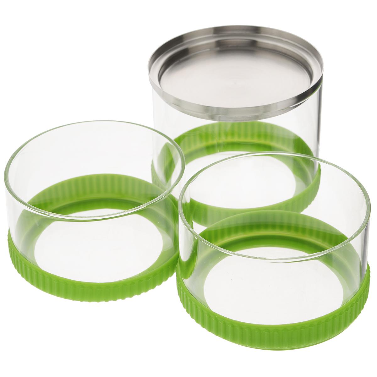 Набор контейнеров Sinoglass Roller, цвет: зеленый, 3 шт94904000Набор Sinoglass Roller состоит из трех контейнеров разного объема, предназначенных для хранения сыпучих продуктов. Изделия выполнены из высококачественного стекла и оснащены силиконовыми кольцами, которые предохраняют поверхность стола от повреждений. Для экономии пространства контейнеры ставятся друг на друга. Силиконовые кольца обеспечивают герметичность контейнеров: это позволит продуктам дольше оставаться свежими и предохранит от попадания влаги. Верхний контейнер закрывается крышкой из нержавеющей стали. Контейнеры идеальны для хранения печенья, орехов, мармелада, чая, кофе, сахара и других сыпучих продуктов. Благодаря прозрачным стенкам, можно видеть содержимое банок. Такой набор стильно дополнит интерьер кухни и станет незаменимым помощником в приготовлении ваших любимых блюд. Высота контейнеров: 6,5 см; 6,5 см; 9 см. Общая высота трех контейнеров: 22 см. Диаметр контейнера: 11 см. Объем контейнеров: 0.6 л, 0.4...