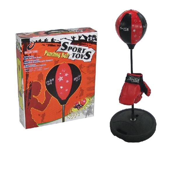 Стойка боксерская детская Sport Toys, с перчатками. TX43201TX43201Стойка боксерская Sport Toys, изготовленная из стали, полиэстера и ПВХ, предназначена для отработки силы, жесткости и точности ударов. Это спортивный боксерский набор для начинающих маленьких спортсменов. С таким набором занятия спортом становятся не только полезными, но и интересными. С помощью такого набора мальчик будет развивать силу, координацию движений, ловкость и сноровку. Груша устанавливается на специальную стойку, которую нужно утяжелить через специальное отверстие песком или водой. Сама груша накачивается насосом, который входит в комплект. В комплекте также поставляется пара боксерских перчаток с синтетическим наполнителем. Комплектация: - боксерская груша на подставке, - перчатки: 1 пара, - насос.