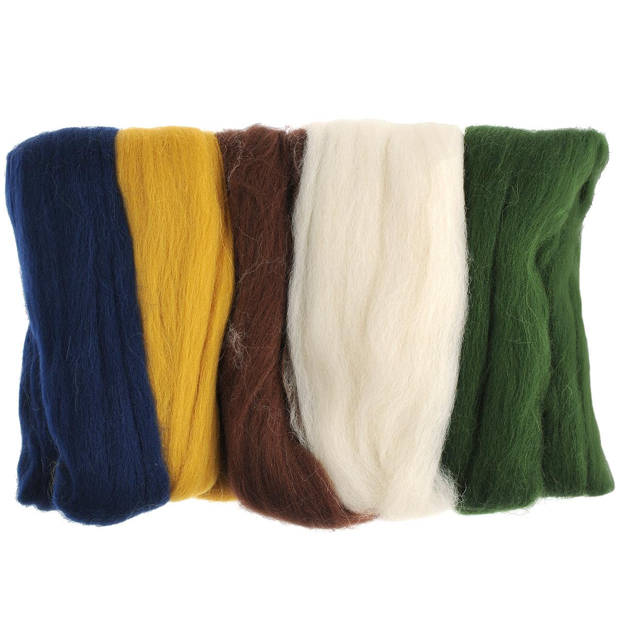 Шерсть для валяния RTO, 100 г. 376003376003Шерсть для валяния RTO идеально подходит для сухого и мокрого валяния. Шерсть RTO не линяет при валянии и последующей стирке, легко расчесывается и разделяется на пряди. Готовые изделия из шерсти RTO хорошо поддаются покраске и тонированию. Валяние шерсти - это особая техника рукоделия, в процессе которой из шерсти для валяния создается рисунок на ткани или войлоке, объемные игрушки, панно, декоративные элементы, предметы одежды или аксессуары. Только натуральная шерсть обладает способностью сваливаться или свойлачиваться. В наборе - 5 цветов шерсти.