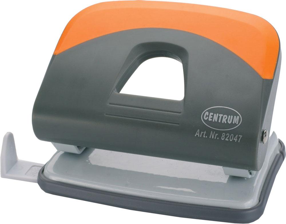 Дырокол Centrum, на 25 листов, цвет: серый, оранжевый. 8204782047Удобный и практичный дырокол Centrum - незаменимый офисный инструмент. Металлический дырокол предназначен для одновременной перфорации до 25 листов бумаги. Для удобства оснащен линейкой-направляющей с разметкой для документов различных форматов, а также имеет съемный резервуар для обрезков бумаги, встроенный в основание. Дырокол обладает хорошей устойчивостью и не скользит по поверхности стола. Дырокол - необходимый инструмент для любого, кто работает с большими объемами данных, он позволяет быстро и легко перфорировать документы для последующего подшивания их в папки. Благодаря дыроколу Centrum, ваши бумаги и ценные документы всегда будут организованы.