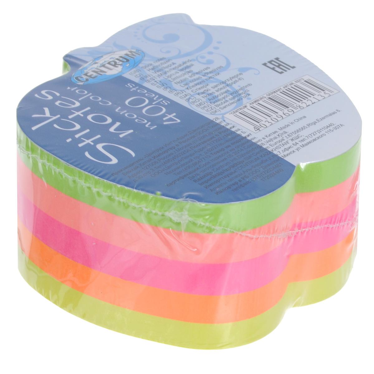 Блок для записей Centrum, с липким слоем, 7,2 см х 7 см82213Цветная бумага из блока Centrum идеально подойдет для важных пометок и записей. Яркие неоновые оттенки, высокое качество и оригинальный дизайн в форме яблока выделяют предлагаемую бумагу из ряда подобных. Блок состоит из 400 листочков с липким слоем оранжевого, салатового, желтого, розового и ярко-розового цветов (по 80 листочков каждого цвета). В каждом имеется круглое отверстие диаметром 1,2 см.