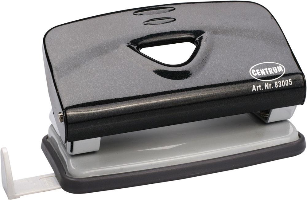 Дырокол Centrum, на 10 листов, цвет: черный. 8300583005Удобный и практичный дырокол Centrum - незаменимый офисный инструмент. Металлический дырокол предназначен для одновременной перфорации до 10 листов бумаги. Для удобства оснащен линейкой-направляющей с разметкой для документов различных форматов, а также имеет съемный резервуар для обрезков бумаги, встроенный в основание. Массивный дырокол обладает хорошей устойчивостью и не скользит по поверхности стола. Дырокол - необходимый инструмент для любого, кто работает с большими объемами данных, он позволяет быстро и легко перфорировать документы для последующего подшивания их в папки. Благодаря дыроколу Centrum, ваши бумаги и ценные документы всегда будут организованы.