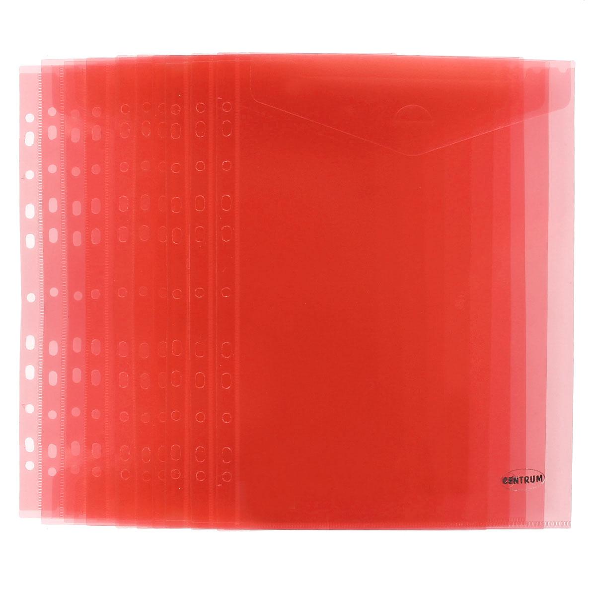 Папка-конверт Centrum, вертикальная, с перфорацией, цвет: красный. Формат А4, 10 шт80630ОПапка-конверт Centrum - это удобный и практичный офисный инструмент, предназначенный для хранения и транспортировки рабочих бумаг и документов формата А4. Папка изготовлена из полупрозрачного матового пластика, имеет перфорацию. В комплект входят 10 папок формата А4. Папка-конверт - это незаменимый атрибут для студента, школьника, офисного работника. Такая папка надежно сохранит ваши документы и сбережет их от повреждений, пыли и влаги.