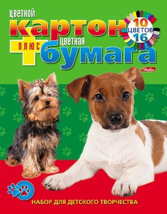 """Набор бумаги и цветного картона Hatber """"Два щенка"""", 26 цветов. Формат А4 26НКБ4к_05284"""