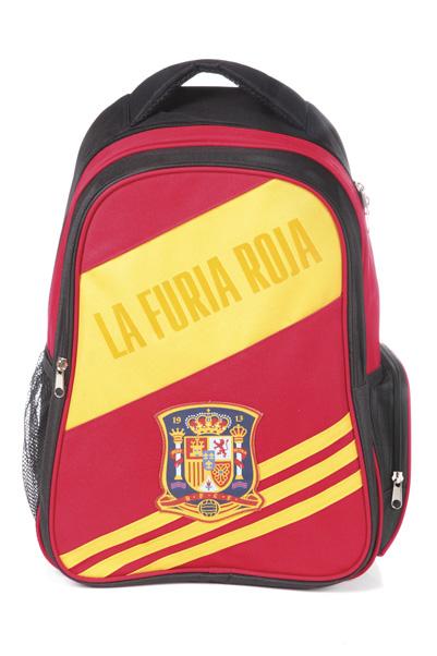 Рюкзак Hatber HD Мир футбола, цвет: черный, красный, желтый. NR_00033NR_00033Стильный молодежный рюкзак для мальчика Hatber HD Мир футбола - это вместительный и удобный рюкзак, который понравится каждому ребенку. Рюкзак, выполненный из высококачественного полиэстера и украшенный изображением логотипа Сборная Испании по футболу, имеет одно основное отделение, закрывающееся на застежку-молнию двумя бегунками. На внешней стороне рюкзака расположен карман на молнии для различных школьных принадлежностей. Сбоку рюкзак снабжен карманом на молнии и сетчатым карманом. Рюкзак оснащен уплотнённой спинкой, ручкой и лямками регулируемой длины, что делает рюкзак удобным и надёжным в эксплуатации. Легкая и удобная модель рюкзака для людей, ведущих активный образ жизни.