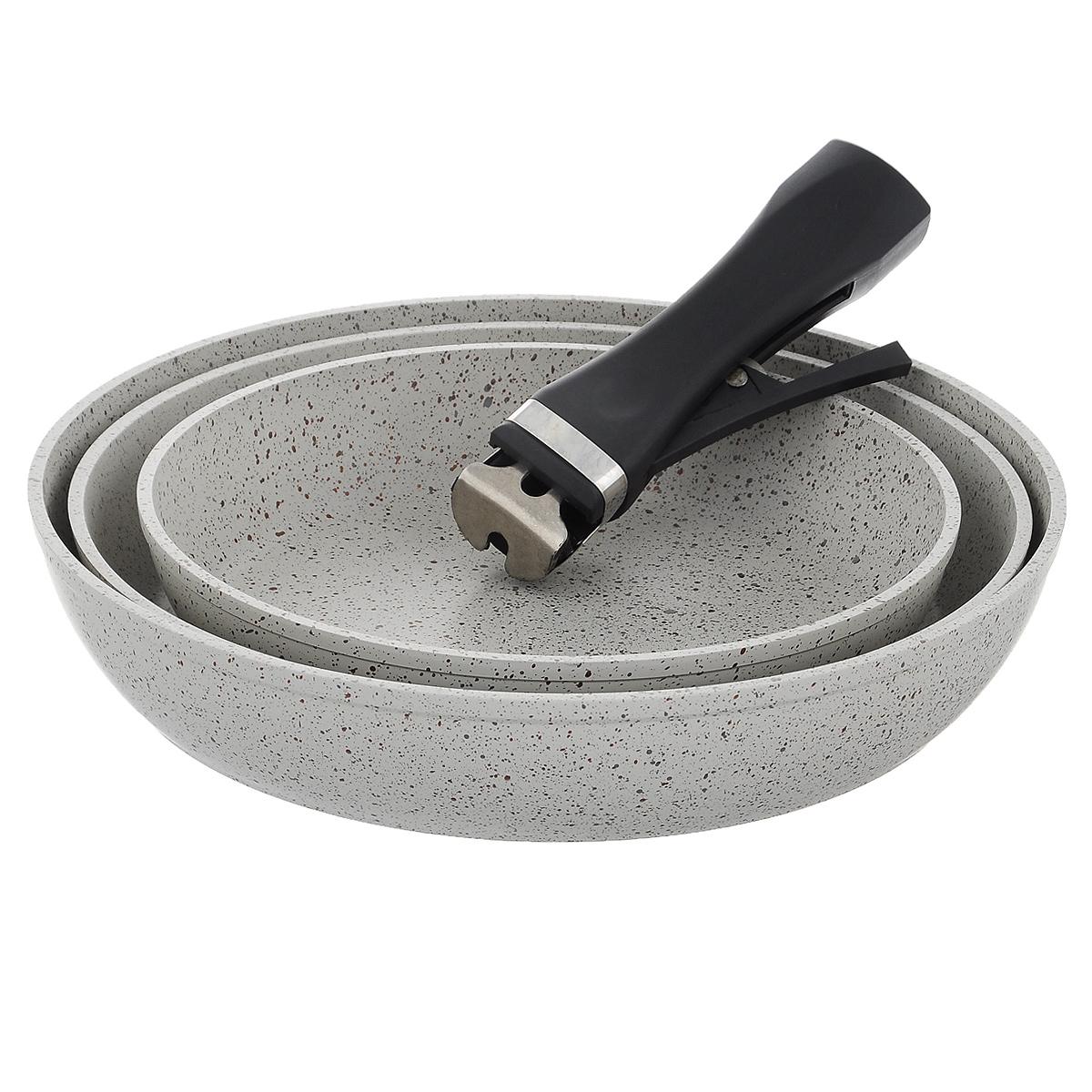 Набор посуды Travola, с мраморным покрытием, цвет: серый, 4 предметаLJ-FMKP22/26/28Набор посуды Travola состоит из трех сковородок и съемной ручки. Изделия выполнены из алюминия с мраморным покрытием. Ручка выполнена из высококачественного пластика со съемным механизмом. Такой набор не только станет незаменимым помощником в приготовлении ваших любимых блюд, но и стильно оформит интерьер кухни. При приготовлении не использовать металлические аксессуары. Не использовать для мытья металлические щетки и абразивные материалы. Не рекомендуется хранить готовые блюда в сковородах, в особенности овощные блюда. Можно использовать на всех видах плит, кроме индукционных.