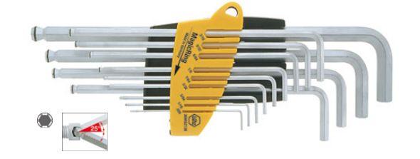 Набор ключей 6-тигранных ProStar SB369R SZ13 со сферической головкой MagicRing, 13 предметов Wiha 2485024850Набор шестигранных штифтовых ключей со сферической головкой в держателе ProStar с MagicRing, в дюймовом исполнении. Применяется для извлечения дюймовых винтов из отверстий или вставки в отверстия, для работы в труднодоступных местах. Ключи выполнены из хромованадиевой стали полной закалки полной закалки с матовым хромированием. Компактный футляр ProStar обеспечивает простое извлечение каждого отдельного ключа, не сдвигая другие. MagicRing из пружинной стали (начиная с размера 1/8) надежно удерживает все нормированные винты в любом положении. Сферическая головка для закручивания под углом до 25°. В набор входят ключи: 0,05, 1/16, 5/64, 3/32, 7/64, 1/8, 9/64, 5/32, 3/16, 7/32, 1/4, 5/16, 3/8.