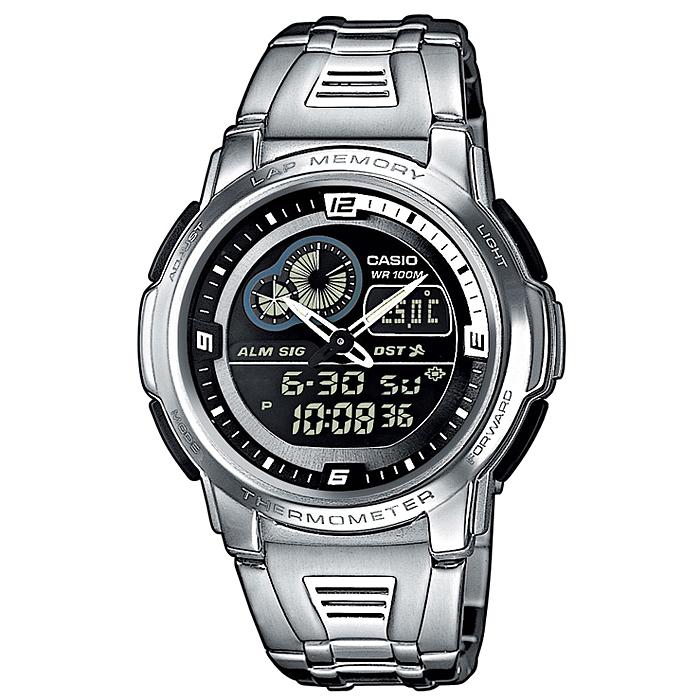 Часы наручные Casio, цвет: серебристый, черный. AQF-102WD-1BAQF-102WD-1BСтильные аналогово-цифровые часы от японского брэнда Casio - это яркий функциональный аксессуар для современных людей, которые стремятся выделиться из толпы и подчеркнуть свою индивидуальность. Часы оснащены японским кварцевым механизмом. Корпус часов изготовлен из нержавеющей стали и пластика. Циферблат с двумя стрелками защищен пластиковым стеклом. Часы застегиваются при помощи застежки-клипсы. Основные функции: - будильник; - автоматический календарь (число, месяц, день недели, год); - термометр; - подсветка (электролюминесцентные панели), автоподсветка; - секундомер: время измерения - 100 часов; - 12-ти и 24-х часовой формат времени; - таймер; - мировое время. Питание часов осуществляется от сменной батареи. Часы упакованы в фирменную коробку с логотипом Casio. Такой аксессуар придаcт вашему образу нотку изысканности и элегантности. ...
