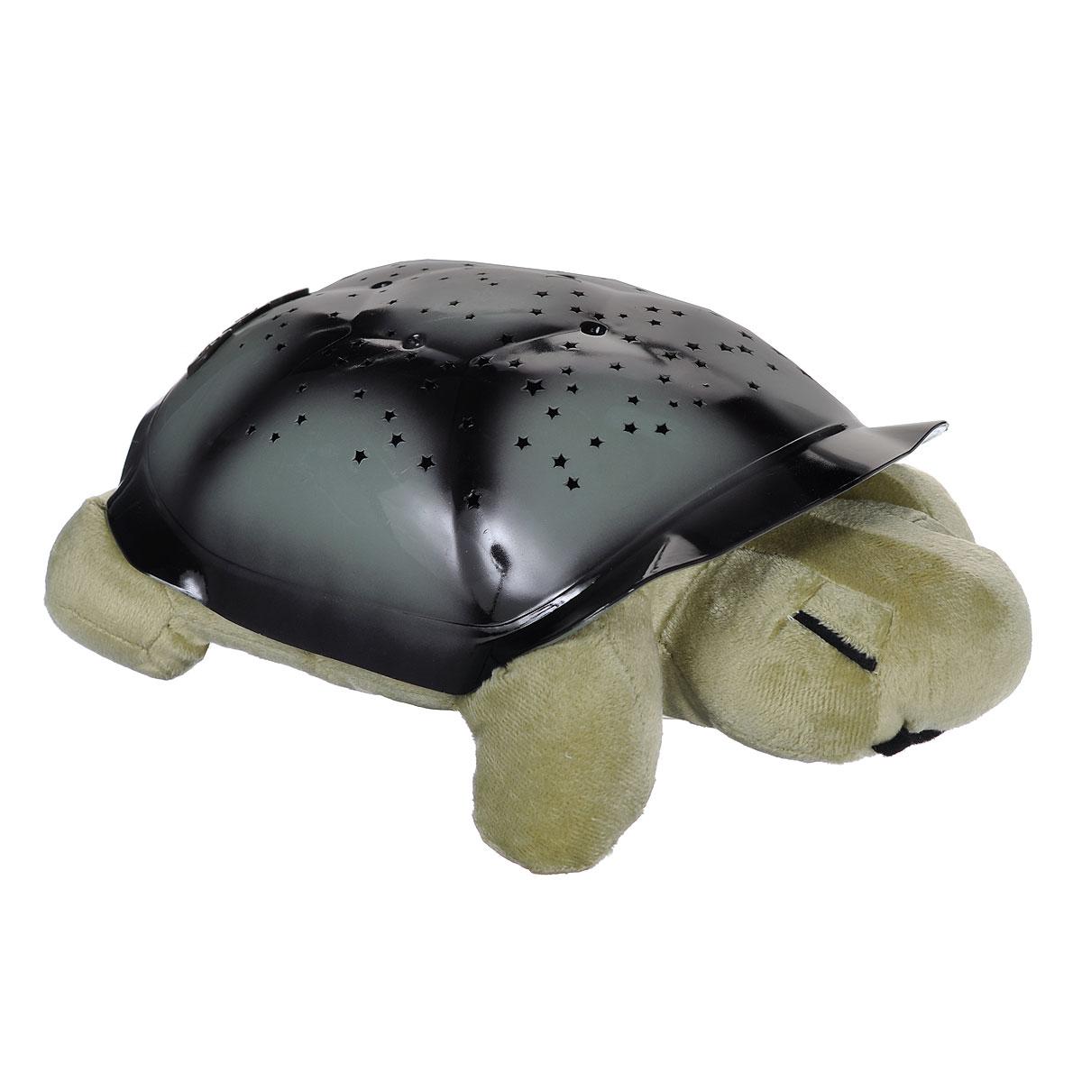 Ночник-проектор Bradex Звездная черепашка, цвет: оливковый, темно-серыйDE 0040Ночник-проектор Bradex Звездная черепашка создаст волшебную атмосферу для сна ребенка. Это удивительный светильник, выполненный в форме мягкой игрушки-черепашки. Дизайн игрушки наверняка сразу понравится вашему малышу и завоюет его безграничную любовь. Благодаря своему волшебному панцирю черепашка имеет возможность проецировать на потолок и стену карту звездного неба (8 созвездий). Ночник может работать в трех цветовых режимах, с подсветкой синего, зеленого и янтарного цветов. Для переключения режима подсветки на панцире черепахи расположены специальные кнопки. Ночник автоматически отключается через 50 минут работы. В комплект входит инструкция по эксплуатации на русском языке, на обратной стороне которой вы найдете описание созвездий, что позволит вам и вашему ребенку вместе изучать звездное небо, развивая кругозор вашего малыша. Необходимо докупить 3 батарейки напряжением 1,5V типа ААА (не входят в комплект).