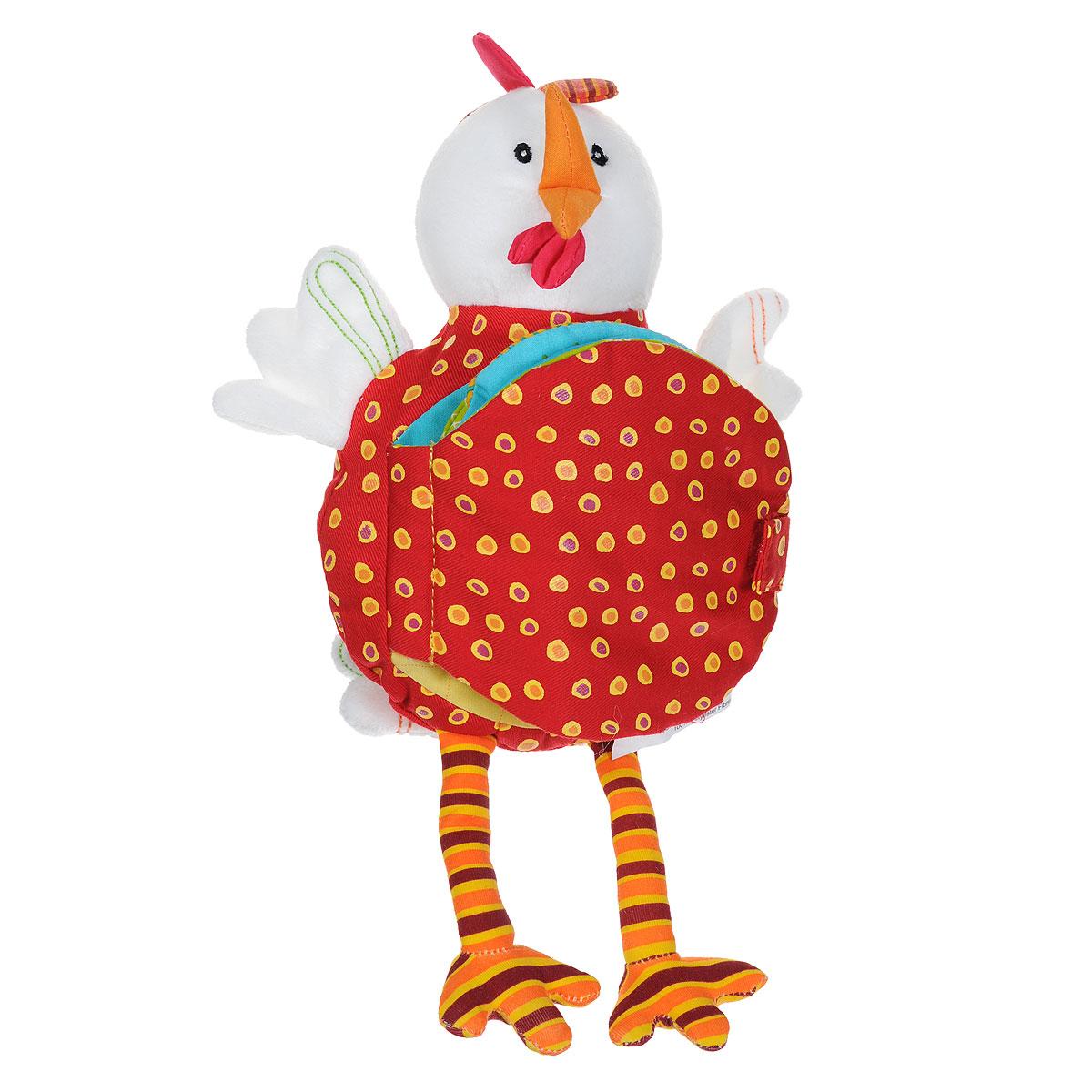 Развивающая игрушка-книжка Lilliputiens Курочка Офелия86008Мягкая развивающая игрушка-книжка Lilliputiens Курочка Офелия непременно понравится вашему малышу. Она выполнена из текстильного материала разных цветов и фактур в виде курочки. Туловище Офелии представляет собой книжку с четырьмя мягкими страничками, на которых изображено, как проводят день ее любимые цыплята. Странички книжечки закрепляются с помощью хлястика на липучке. В голове Офелии спрятана сфера, гремящая при тряске. Книжка-игрушка поможет ребенку развить цветовое и звуковое восприятие, тактильные ощущения, мелкую моторику рук, когнитивное восприятие, а также познакомит с окружающим миром. с
