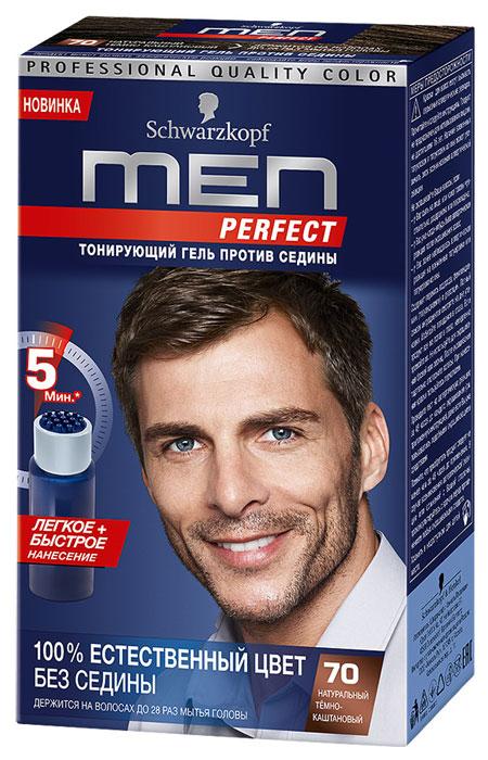 Тонирующий гель для мужчин Men Perfect 70. Натуральный темно-каштановый9353225Men Perfect - ухаживающий тонирующий гель, разработанный специально для мужчин, который позволяет естественным образом скрыть первую седину. Формула геля соответствует исходному натуральному цвету Ваших волос, делая факт окрашивания незаметным для окружающих. Естественный цвет волос без седины продержится до 24 раз мытья головы. Результат достигается быстро, безопасно и легко избавиться от седины за 5 минут - не дольше, чем поход в душ. Men Perfect с натуральным женьшенем и кератином обеспечивает дополнительный уход Вашим волосам. Мягкая формула без аммиака особенно бережно окрашивает волосы. В комплект входит удобный аппликатор, который поможет быстро нанести краску. Men Perfect - естественный цвет волос без седины - всего за 5 минут. Характеристики: Номер краски: 70. Цвет: натуральный темно-каштановый. Степень стойкости: 2 (смывается через 24 раза). Объем тюбика с окрашивающим гелем: 40 мл. Объем флакона с проявляющей...