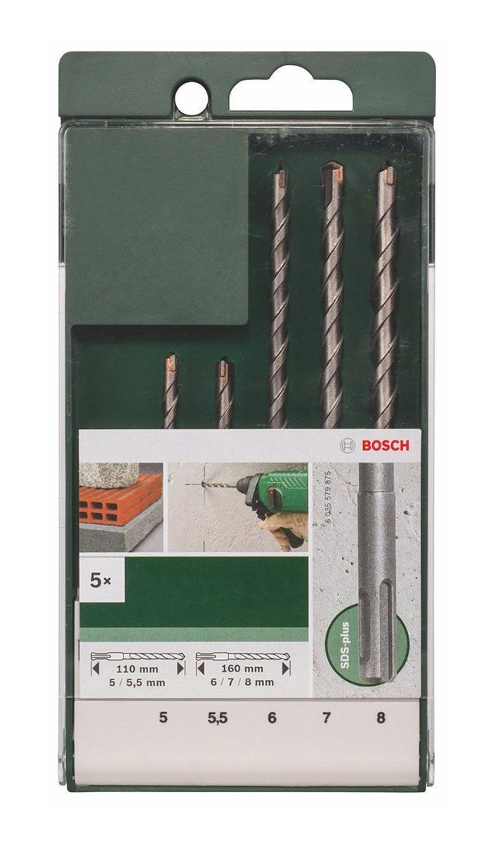 Сверла Bosch SDS-Plus, 5 предметов2609255542Набор сверл Bosch применяется совместно с аккумуляторными и электродрелями для ударного сверления твердых материалов, таких как бетон, кирпич, камень, мрамор и т.д. В набор входят: Сверла длиной 110 мм и диаметром 5, 5,5 мм; Сверла длиной 160 мм и диаметром 6, 7, 8 мм.