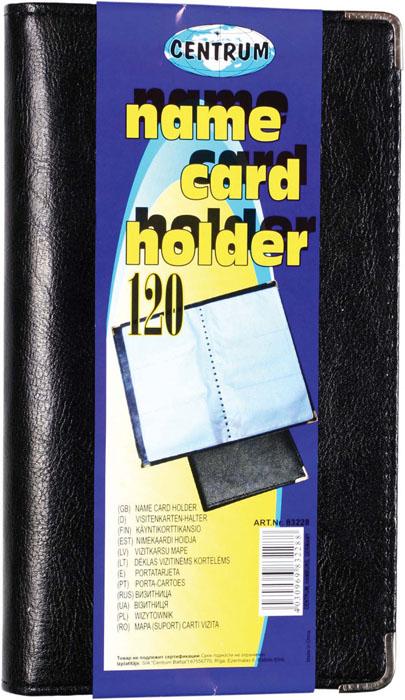 Визитница Centrum, на 120 визиток, цвет: черный. 8322883228Визитница Centrum станет великолепным подарком для любого современного делового человека, ценящего стиль и качество. Мягкая обложка визитницы покрыта высококачественной искусственной кожей. Внутри располагается трехрядный пластиковый блок на 120 визиток. Углы защищены металлическими накладками, что обеспечивает сохранность опрятного внешнего вида визитницы, и защищает уголки от загибания. Благодаря своему дизайну, визитница прекрасно впишется в интерьер любого офиса или дома. Она надежно сохранит ваши карты и сбережет их от повреждений, пыли и влаги.