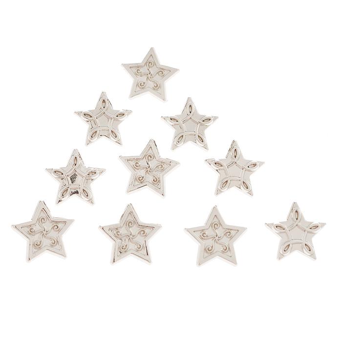 Пуговицы декоративные Dress It Up Звезда серебряная, 10 шт. 77025057702505Набор Dress It Up Звезда серебряная состоит из 10 декоративных разноцветных пуговиц, изготовленных из пластика, с помощью которых вы сможете украсить открытку, фотографию, альбом, одежду, подарок и другие предметы ручной работы. Все пуговицы в наборе имеют оригинальный и яркий дизайн.