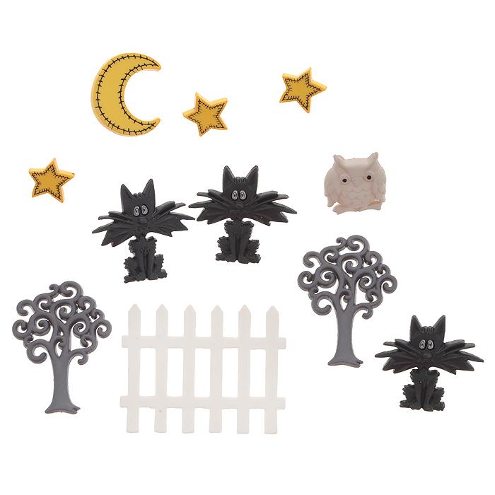 Набор пуговиц и фигурок Dress It Up Ночные коты, 10 шт. 77040577704057Набор Dress It Up Ночные коты состоит из 10 декоративных разноцветных пуговиц и фигурок, изготовленных из пластика, с помощью которых вы сможете украсить открытку, фотографию, альбом, одежду, подарок и другие предметы ручной работы. Все предметы в наборе имеют оригинальный и яркий дизайн.