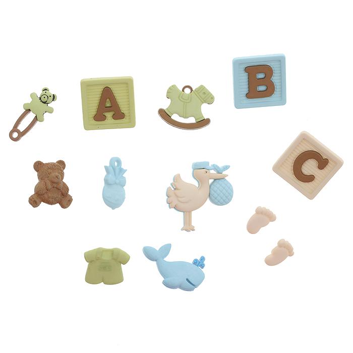 Набор пуговиц и фигурок Dress It Up Для новорожденного, 11 шт. 77020667702066Набор Dress It Up Для новорожденного состоит из 11 декоративных разноцветных пуговиц и фигурок, изготовленных из пластика, с помощью которых вы сможете украсить открытку, фотографию, альбом, одежду, подарок и другие предметы ручной работы. Все предметы в наборе имеют оригинальный и яркий дизайн.