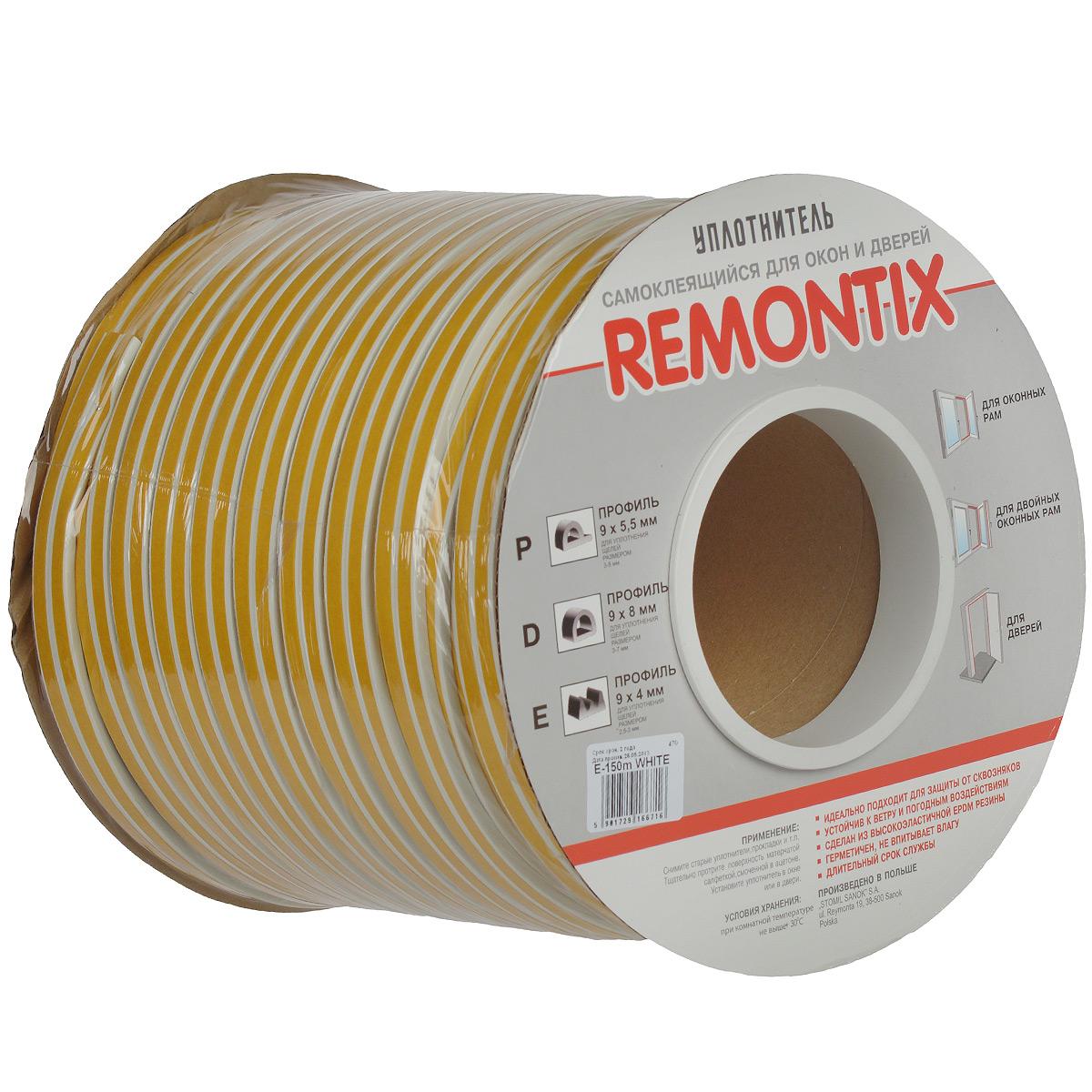 Уплотнитель для окон Remontix, профиль E, цвет: белый, 150 м93864Уплотнительная самоклеющаяся лента Remontix для окон и дверей применяется как средство для теплоизоляции жилых и других помещений. Лента выдерживает большие колебания температуры, влагонепроницаема, рассчитана на длительный срок службы. Профиль E. Для уплотнения щелей размером 2,5-3 мм.