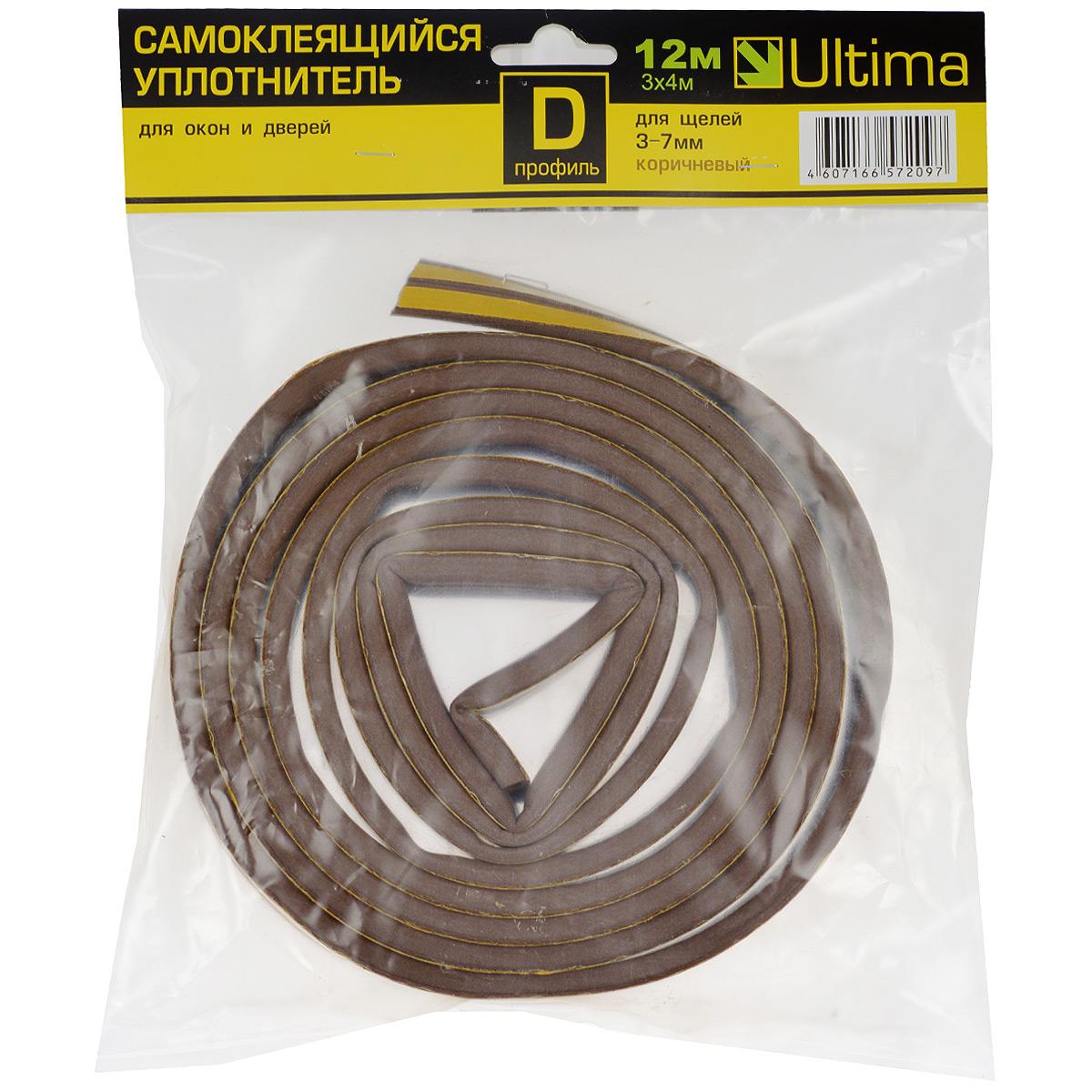 Уплотнитель самоклеящийся Ultima, профиль D, цвет: коричневый, 12 м93937Универсальный уплотнитель Ultima из вспененной резины EPDM, с уже нанесенным клеящим составом. Предназначен для уплотнения зазоров 3-7 мм в рамах окон и дверей, с целью предотвращения подсосов воздуха, пыли и защиты от шума. Образующаяся воздушная камера обеспечивает дополнительную шумо- и теплоизоляцию. Клеящий слой защищен от высыхания и смазывания бумажной лентой. При удалении не повреждает окрашенную поверхность. Хорошая адгезия клеящего слоя. Профиль D.