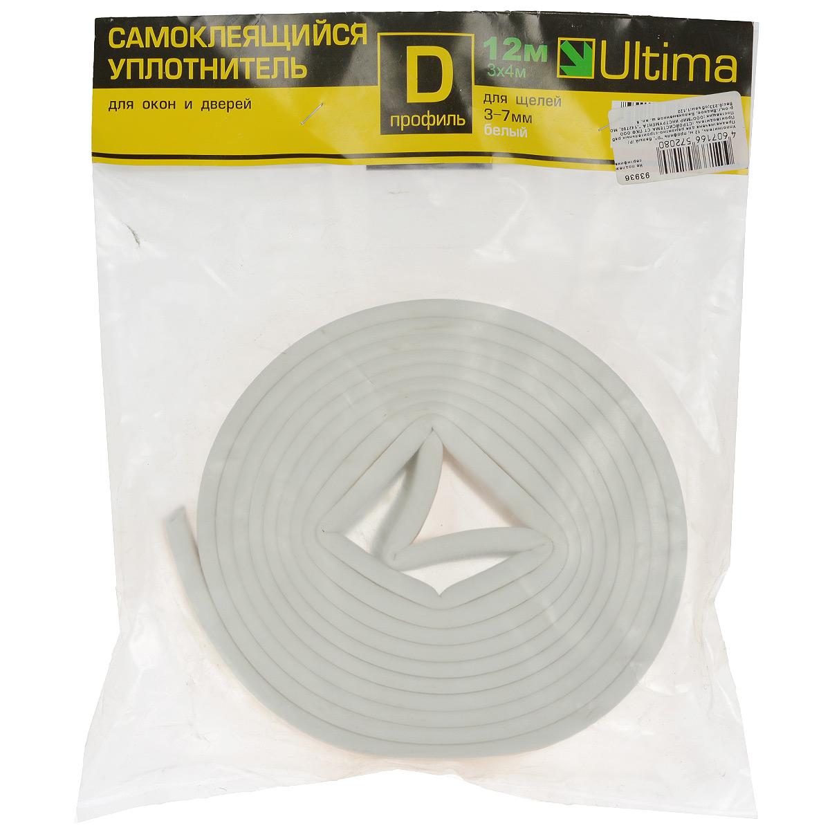 Уплотнитель самоклеящийся Ultima, профиль D, цвет: белый, 12 м93936Универсальный уплотнитель Ultima из вспененной резины EPDM, с уже нанесенным клеящим составом. Предназначен для уплотнения зазоров 3-7 мм в рамах окон и дверей, с целью предотвращения подсосов воздуха, пыли и защиты от шума. Образующаяся воздушная камера обеспечивает дополнительную шумо- и теплоизоляцию. Клеящий слой защищен от высыхания и смазывания бумажной лентой. При удалении не повреждает окрашенную поверхность. Хорошая адгезия клеящего слоя. Профиль D.