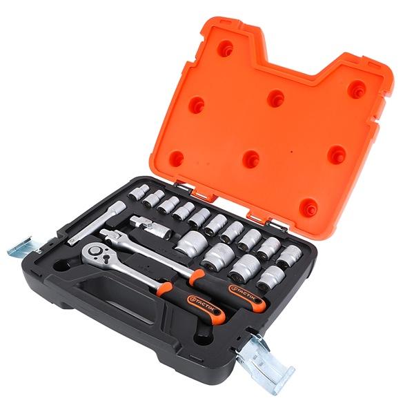 Набор инструментов Tactix, 18 предметов365015Набор инструментов Tactix предназначен для монтажа и демонтажа резьбовых соединений. Все инструменты в наборе выполнены из высококачественной хромованадиевой стали. Состав набора: Головки торцевые 1/2: 10 мм, 11 мм, 12 мм, 13 мм, 14 мм, 15 мм, 16 мм, 17 мм, 19 мм, 22 мм, 24 мм, 27 мм, 30 мм, 32 мм. Удлинитель 1/2: 125 мм. Головка подвижная с ручкой 1/2. Головка подвижная 1/2. Трещотка.