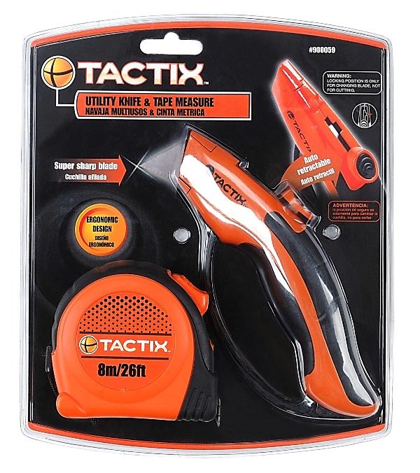 Набор инструментов Tactix, 2 предмета. 900059900059В набор инструментов Tactix входит сервисный нож и рулетка. Нож предназначен для строительно-ремонтных работ. Оснащен удобной обрезиненной рукояткой. Рулетка Tactix - это измерительный инструмент высокой точности. Она является усовершенствованным вариантом складного метра. Рулетка удобна тем, что на конце измерительной ленты имеется специальный порожек, который можно закрепить за край измеряемого предмета. Длина рулетки: 8 м.