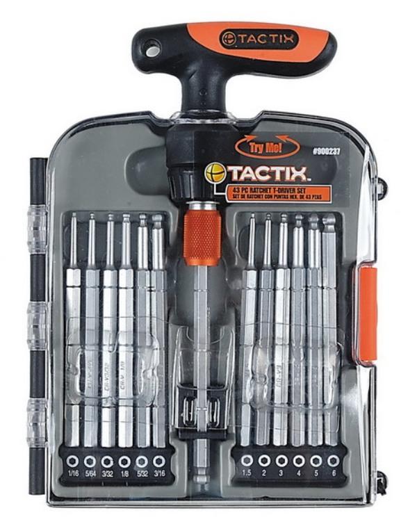 Набор инструментов Tactix, 14 предметов900239Набор инструментов Tactix предназначен для монтажа и демонтажа резьбовых соединений. В набор входит реверсивная отвертка с Т-образной рукоятной и 13 бит длиной 115 мм. Все инструменты выполнены из высококачественной стали, что обеспечивает им долговечность. Состав набора: Реверсивная отвертка. Биты шестигранные: 1,5 мм, 2 мм, 3 мм, 4 мм, 5 мм, 6 мм, 1/16, 5/64, 3/32, 1/8, 5/32, 3/16, 1/2.