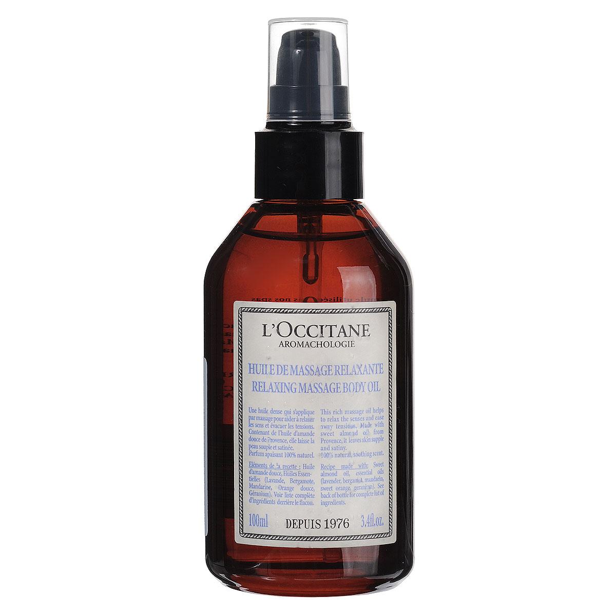LOccitane Масло для массажа Аромакология, расслабляющее, 100 мл311615Питательное массажное масло помогает расслабиться и снять напряжение. Содержит питательное масло сладкого миндаля, защищает кожу от сухости и придает ей атласный блеск. Превосходно смягчает кожу, быстро впитывается и является отличной основой для всех видов массажа. Товар сертифицирован.