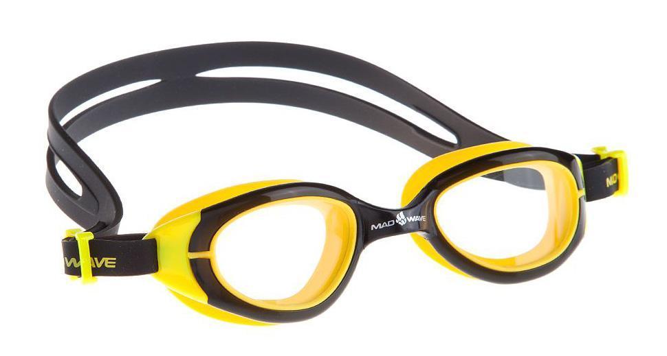 Очки для плавания Mad Wave UV Blocker Junior, цвет: желтый, черный10015334Очки с фотохромными линзами для использования, как в закрытых бассейнах, так и в открытых водоемах. В закрытых помещениях линзы абсолютно прозрачны, на солнце из-за фотохроматического эффекта линзы будут затемняться и блокировать излучение ультрафиолета. Антизапотевающие стекла. Линзы из триацетат целлюлозы. Вид переносицы - моноблок. Оправа - термопластичная резина. Силиконовый обтюратор и ремешок. В комплект поставки входит сетчатый футляр на молнии для транспортировки и хранения очков.