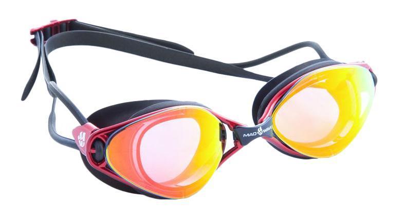 Очки для плавания Mad Wave Vision, цвет: черный, красный10015331